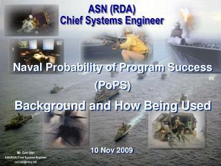 ASN (RDA) Chief Systems Engineer