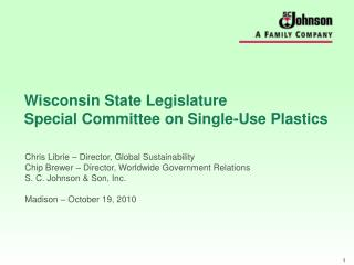 Wisconsin State Legislature  Special Committee on Single-Use Plastics