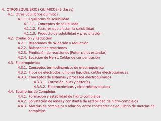 4.  OTROS EQUILIBRIOS QUIMICOS (6 clases) 4.1.  Otros Equilibrios químicos