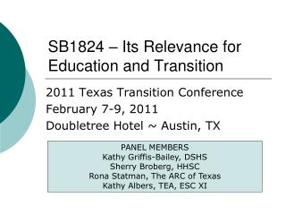 SB1824 – Its Relevance for Education and Transition