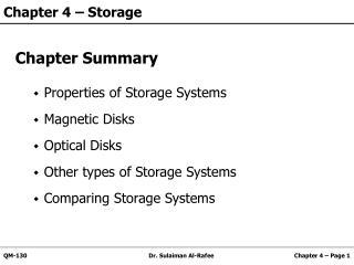 Chapter 4 – Storage