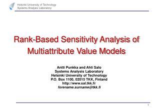 Rank-Based Sensitivity Analysis of Multiattribute Value Models
