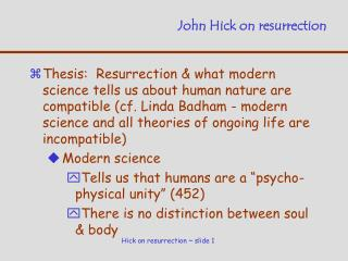 John Hick on resurrection