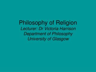 Philosophy of Religion in a Multi-cultural World