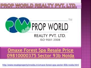 Omaxe Forest Spa Resale Price 09810000375 Sector 93b Noida