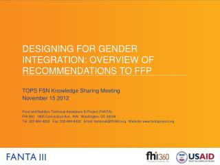 Designing for gender integration: Overview of Recommendations to FFP