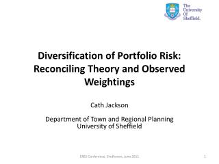 Diversification of Portfolio Risk:  Reconciling Theory and Observed Weightings