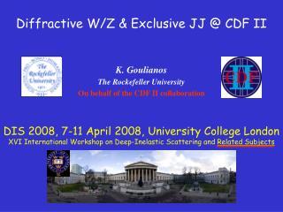 Diffractive W/Z & Exclusive JJ @ CDF II