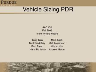 Vehicle Sizing PDR