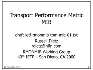 Transport Performance Metric MIB