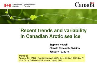 Recent trends and variability in Canadian Arctic sea ice