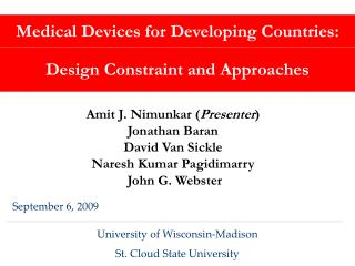 Medical Devices for Developing Countries: