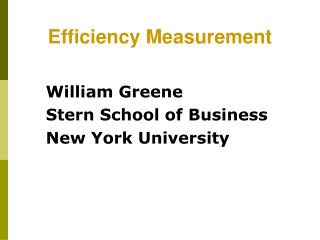Efficiency Measurement