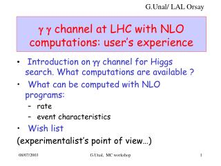 g g  channel at LHC with NLO computations: user�s experience