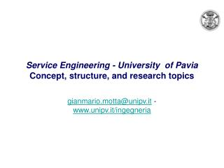 Service Engineering - University  of Pavia  Concept, structure, and research topics
