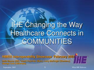 IHE Changing the Way Healthcare Connects in COMMUNITIES