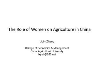 The Role of Women on Agriculture in China