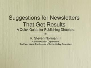 Suggestions for Newsletters That Get Results