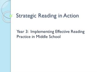 Strategic Reading in Action