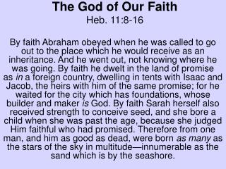 The God of Our Faith Heb. 11:8-16