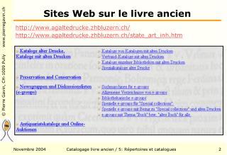 Sites Web sur le livre ancien