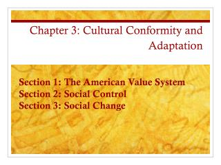 Chapter 3: Cultural Conformity and Adaptation