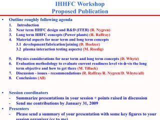 IHHFC Workshop  Proposed Publication
