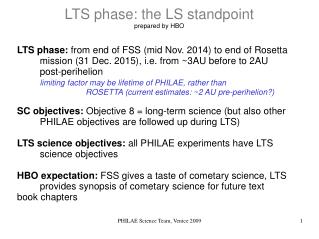 LTS phase: the LS standpoint prepared by HBO