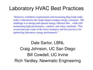 Laboratory HVAC Best Practices