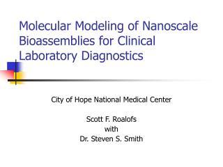 Molecular Modeling of Nanoscale Bioassemblies for Clinical Laboratory Diagnostics