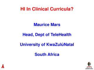 HI In Clinical Curricula?