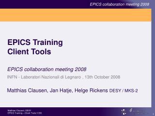 EPICS Training Client Tools