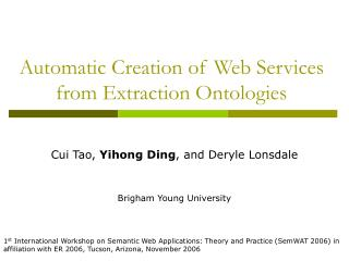 Automatic Creation of Web Services from Extraction Ontologies