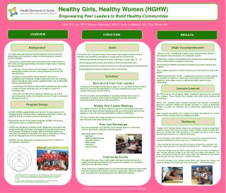 Healthy Girls, Healthy Women (HGHW) Empowering  Peer Leaders  to  Build Healthy Communities