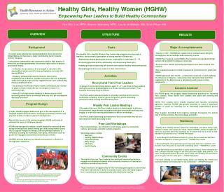 Healthy Girls, Healthy Women (HGHW) Empowering  Peer Leaders  to  Build Healthy Communities