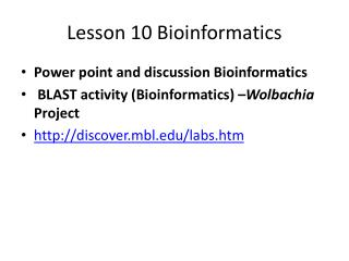 Lesson 10 Bioinformatics