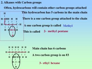 2. Alkanes with Carbon groups