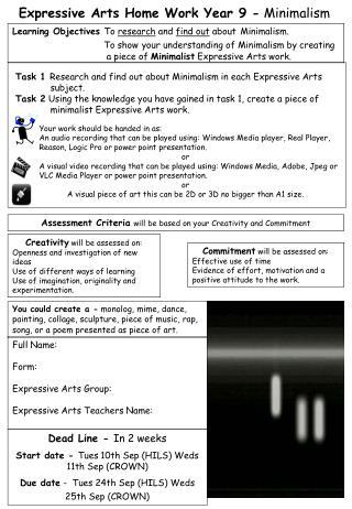 Expressive Arts Home Work Year 9 -  Minimalism