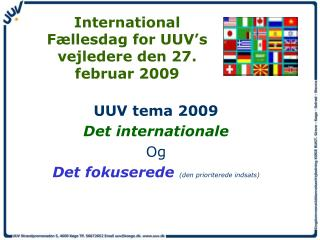 International Fællesdag for UUV's vejledere den 27. februar 2009