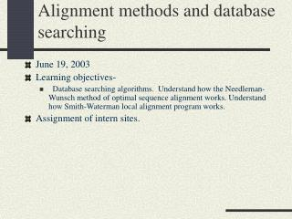 Alignment methods and database searching