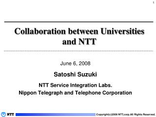 Collaboration between Universities and NTT