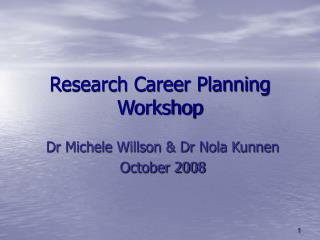 Research Career Planning Workshop