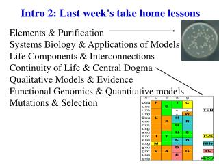 Intro 2: Last week's take home lessons