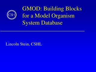 GMOD: Building Blocks for a Model Organism System Database