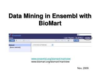 Data Mining in Ensembl with BioMart