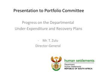 Presentation to Portfolio Committee