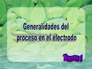 Generalidades del  proceso en el electrodo