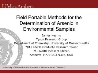 Field Portable Methods for the Determination of Arsenic in Environmental Samples