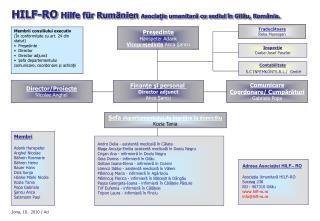 HILF-RO  Hilfe für Rumänien Asocia ţ ie umanitar ă cu sediul î n Gil ă u, R omânia .