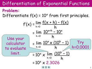 Differentiation of Exponential Functions